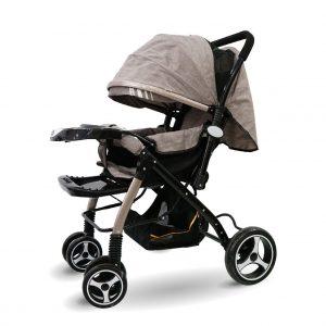 xe nôi đẩy màu nâu nhạt 02 300x300 - Xe đẩy trẻ em có mái che màu xám